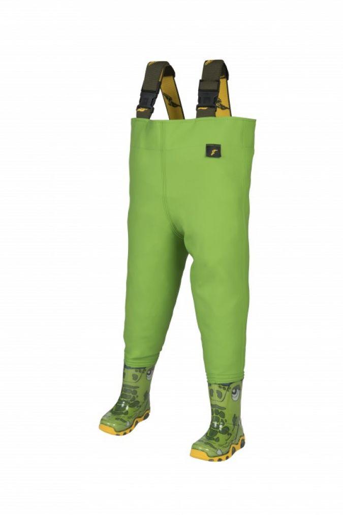 Die Träger sind individuell verstellbar, die fest an den Hosen verschweißten Stiefel haben eine trittfeste Sohle.