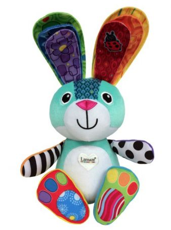 Sonny, das Regenbogen-Häschen, nennt verschiedene Farben, wenn man es in seine bunten Ohren kneift.