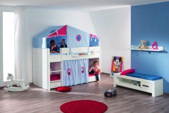Das FIONA Etagenbett, hier mit Zeltaufsatz Sweet Karos, gerader Griffleiter und Einzel-Vorhang.