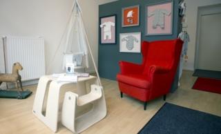 Im Berliner LeoZ-Showroom werden neben textiler Babyerstausstattung auch Schlafsäcke und Designermöbel präsentiert.