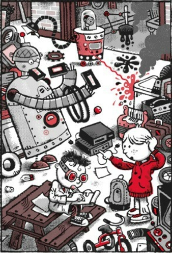 © Brian Briggs, aus Jon Scieszkas Frank Einstein – Die Entführung der Roboter, Heyne fliegt