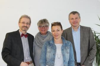 Chefredakteurin Lioba Hebauer (2. v. r.) freute sich über den Besuch von Wolfram Salzer, Heike Hauck und Reinhard Gehringer (v. l.).