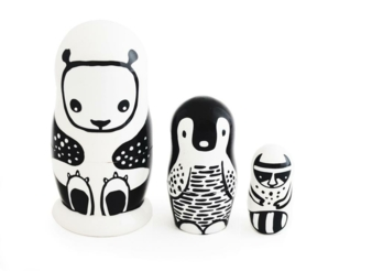 Wee Gallery - Wee Gallery Nesting Dolls - Black and White Animals-web