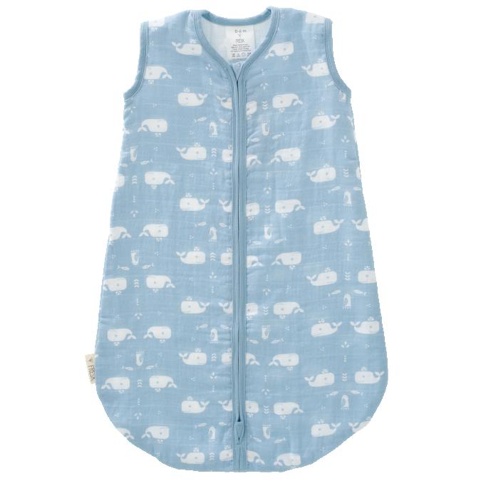 Fresk_F100-25-Sleepingbag-muslin-Whale-bluefog